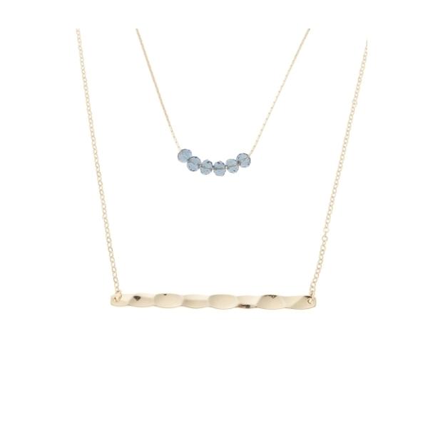 <ロハコ>メタルバーガラス2連ネックレス