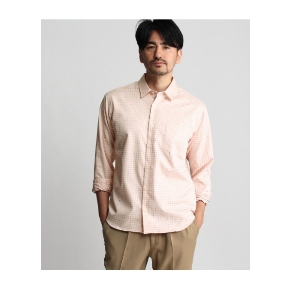 刺子チェック長袖シャツ