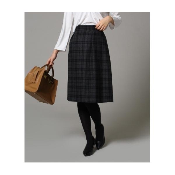 [L]タックチェック柄フレアスカート
