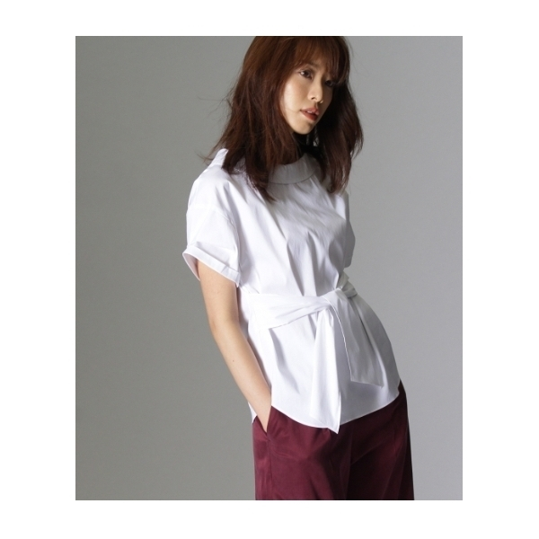 〔洗える〕オフタートル風ベルテッドシャツ