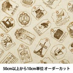 【数量5から】 生地 『綿麻キャンバス ラベル柄 YUZ-754-1』 【ユザワヤ限定商品】