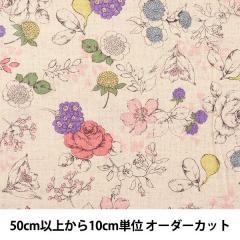 【数量5から】 生地 『YUWA 綿麻シーチング 花柄 446769-A』 有輪商店