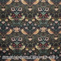 【数量5から】 生地 『moda fabrics William Morris ウィリアムモリス Strawberry Thief ダマスクブラック 8176-11T』