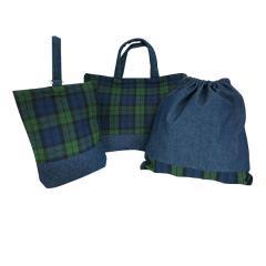 既製品 『入園入学3点セット完成品(レッスンバッグ・シューズケース・巾着) 3SET-GR タータングリーン』
