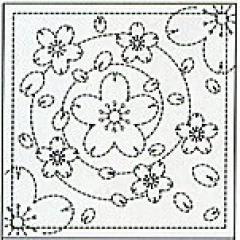 オリムパス 刺し子 花ふきん 布パック 水辺の桜(白)