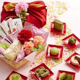 宇治抹茶スイーツ花咲き竹かごセット