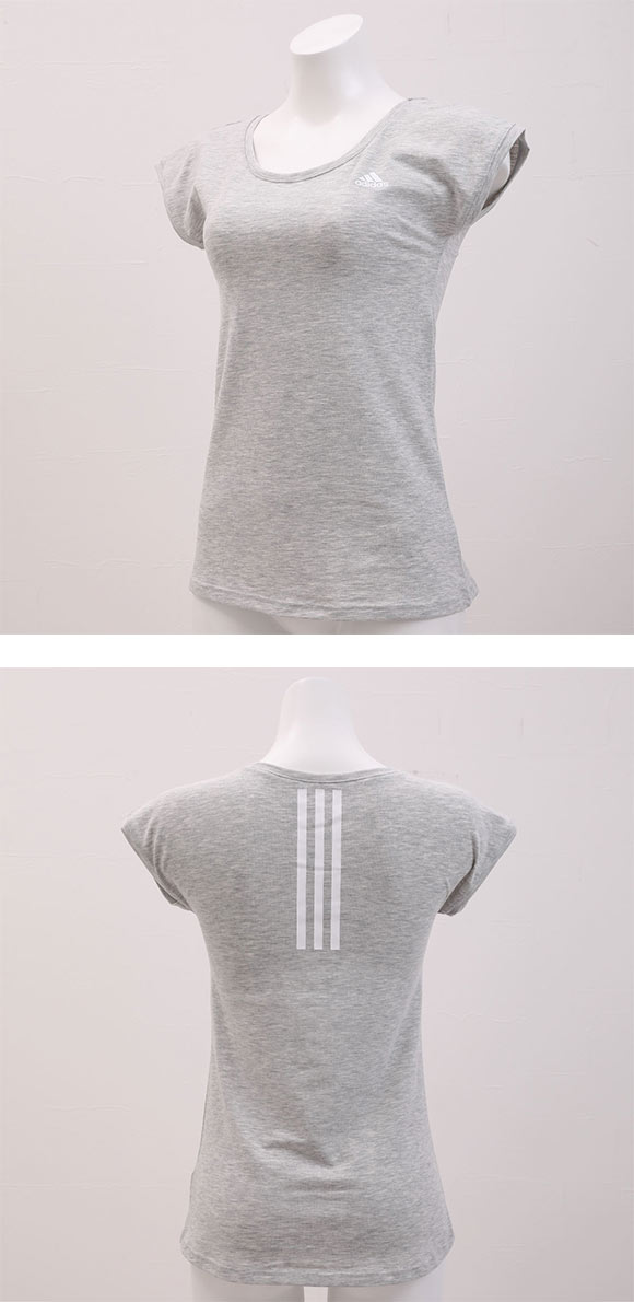 (アディダス)adidas フレンチスリーブ 半袖 Tシャツ 吸汗速乾 綿混 ベーシックライン