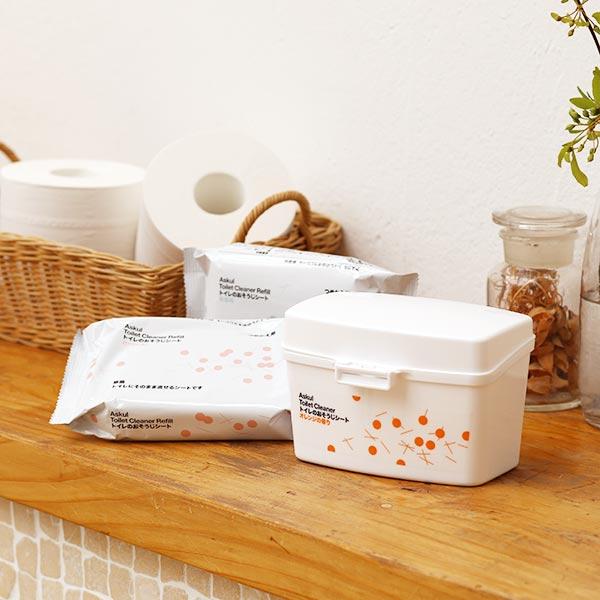アスクル トイレのおそうじシート オレンジの香り 詰替用 1セット(4個)