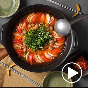 豚肉と根菜のキムチチーズ鍋