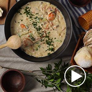 きのこと鮭のクリームチーズチャウダーNabe