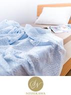 寝具の昭和西川が手掛けた今治パイルガーゼケット。 素材や品質にこだわりぬき、ずっと使えるケットに仕上げました。