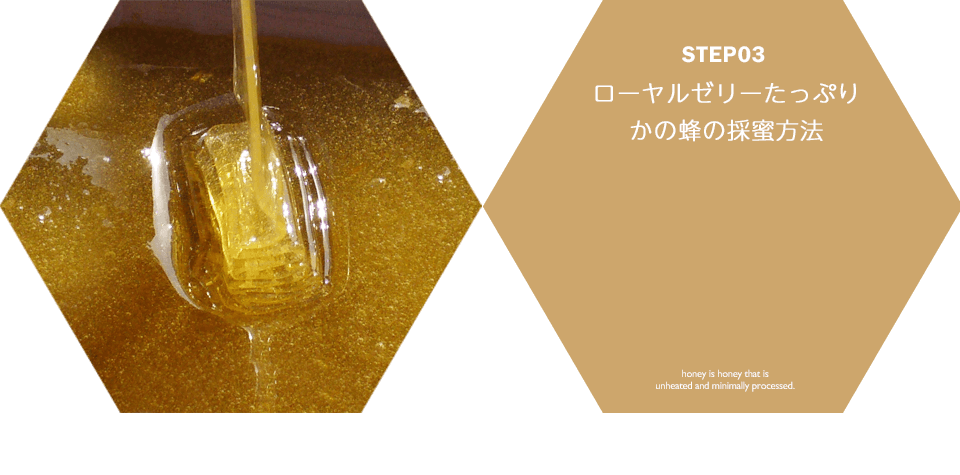 STEP03 ローヤルゼリーたっぷり かの蜂の採蜜方法 honey is honey that is unheated and minimally processed.
