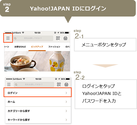 step2Yahoo!JAPAN IDにログイン