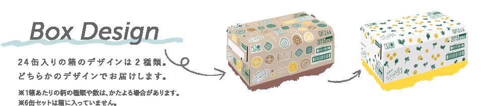 Box Design 24缶入りの箱のデザインは2種類。どちらかのデザインでお届けします。※1箱あたりの柄の種類や数は、かたよる場合があります。※6缶セットは箱に入っていません。