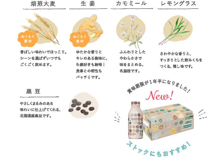 焙煎大麦 ぬくもり素材 香ばしい味わいでほっこり。シーンを選ばずにいつでもごくごく飲めます。 生姜 ぬくもり素材 ゆたかな香りとキレのある後味に、生姜好きも納得!食事との相性もバッチリです。 カモミール ふんわりとしたやわらかさで味をまとめる、名脇役です。 レモングラス さわやかな香りと、すっきりとした飲みくちをつくる、隠し味です。 黒豆 やさしくまるみのある味わいに仕上げてくれる、北海道産黒豆です。 賞味期限が1年半になりました!NEW!ストックにもおすすめ!